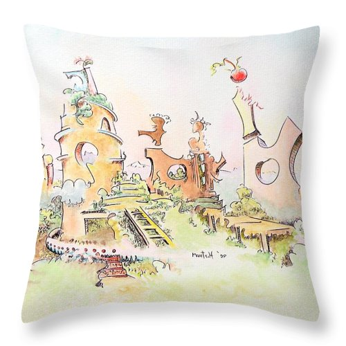 Landscape Throw Pillow featuring the painting Mountain Retreat by Dave Martsolf