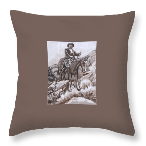 Historical Throw Pillow featuring the painting Mountain Ride Historical Vignette by Dawn Senior-Trask