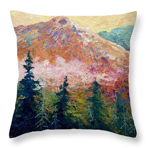 Trees Throw Pillow featuring the painting Mountain Sentinel by Marion Rose