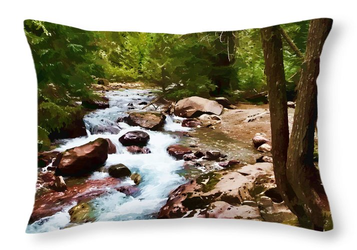 Glacier Throw Pillow featuring the photograph Mountain Stream by Dan Dooley