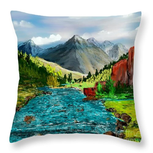 Nature Throw Pillow featuring the digital art Mountain Stream by David Lane