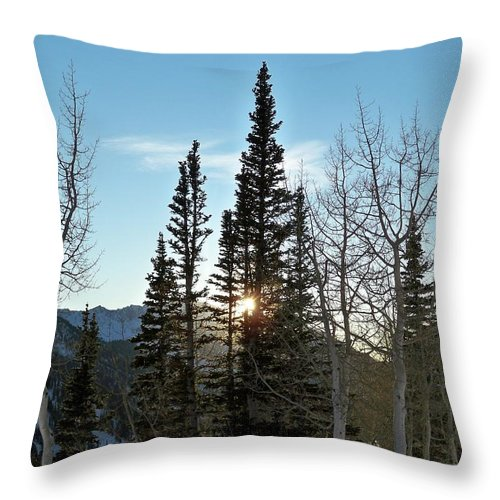 Rural Throw Pillow featuring the photograph Mountain Sunset by Michael Cuozzo