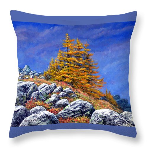 Mountains Throw Pillow featuring the painting Mountain Tamaracks by Frank Wilson