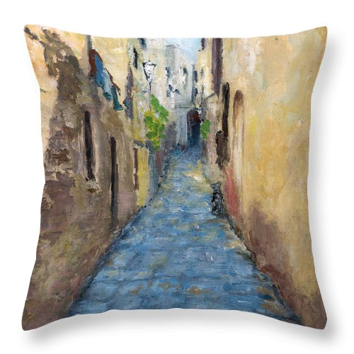 Landscape Throw Pillow featuring the painting Mountain Town Italy by Leonardo Ruggieri
