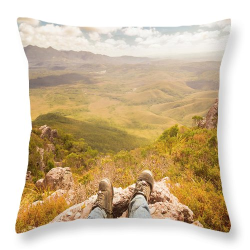Australia Throw Pillow featuring the photograph Mountain Valley Landscape by Jorgo Photography - Wall Art Gallery