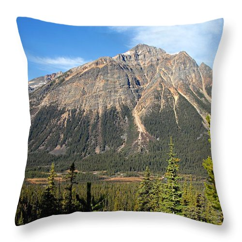 Jasper National Park Throw Pillow featuring the photograph Mountain View 1 by Larry Ricker