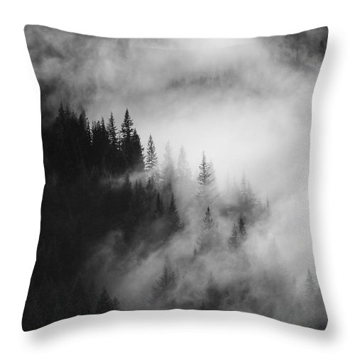 Forest Throw Pillow featuring the photograph Mountain Whispers by Mike Dawson