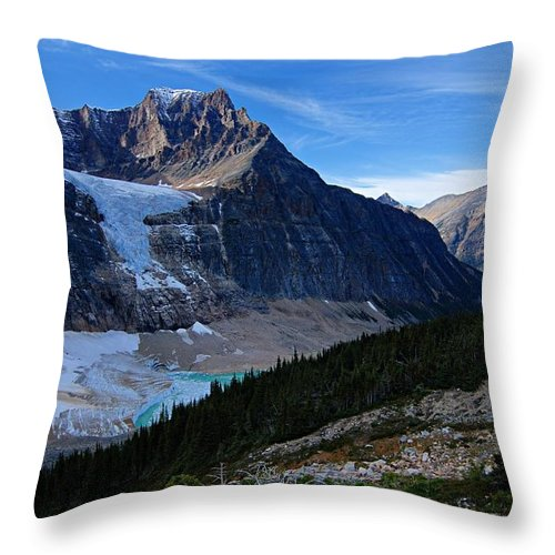 Mount Edith-cavell Throw Pillow featuring the photograph Mountains And Glaciers by Larry Ricker