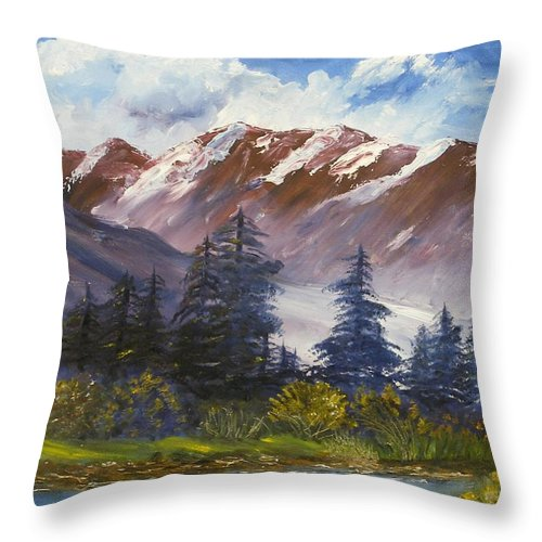Oil Painting Throw Pillow featuring the painting Mountains I by Lessandra Grimley