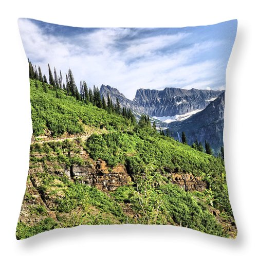 Mountains Throw Pillow featuring the photograph Mountains In Glacier National Park 1 by John Trommer
