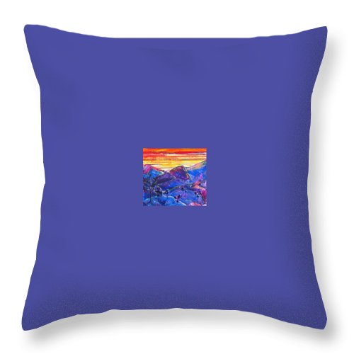 Mountains Throw Pillow featuring the painting Mountainscape Blue by Rollin Kocsis