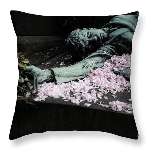 Copper Statue Throw Pillow featuring the photograph Mourner Statue by Brothers Beerens