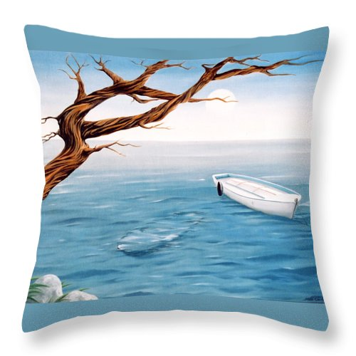 Seascape Prints Throw Pillow featuring the painting Mourning Spring by Mark Cawood