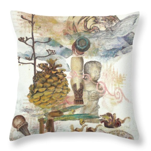 Abstract Throw Pillow featuring the painting Move Along by Valerie Meotti