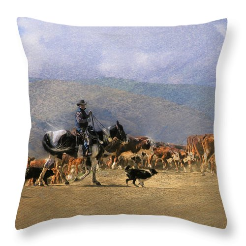 Cowboy Throw Pillow featuring the photograph Move Em Out by Ed Hall