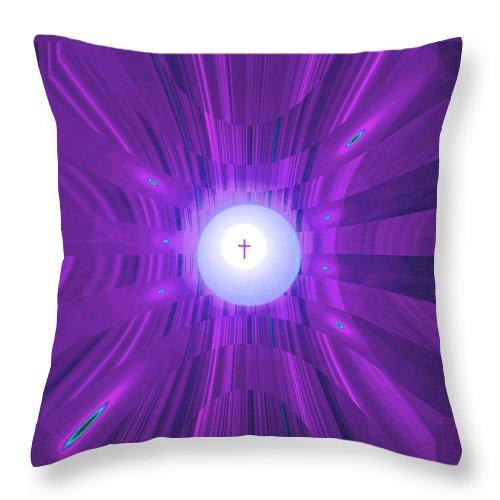 Moveonart! Digital Gallery Throw Pillow featuring the digital art Moveonart Abstract Cross In Purple by Jacob Kanduch