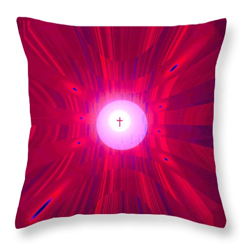 Moveonart! Digital Gallery Throw Pillow featuring the digital art Moveonart Abstract Cross In Red by Jacob Kanduch