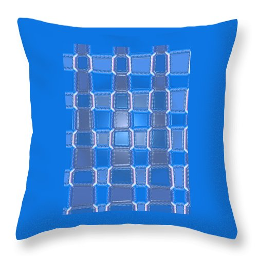 Moveonart! Digital Gallery Throw Pillow featuring the digital art Moveonart Blue Bricks by Jacob Kanduch