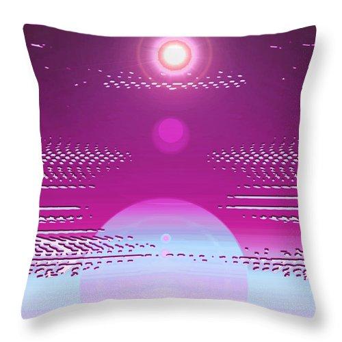 Moveonart! Digital Gallery Throw Pillow featuring the digital art Moveonart Calming Cosmic Centering One by Jacob Kanduch