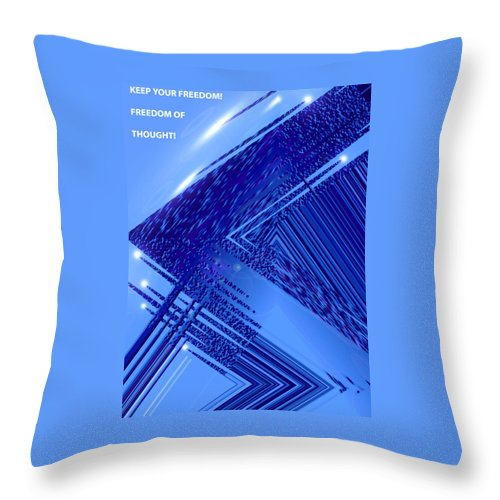Moveonart! Digital Gallery Throw Pillow featuring the digital art Moveonart Freedom Of Thought Two by Jacob Kanduch