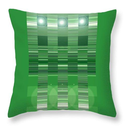 Moveonart! Digital Gallery Throw Pillow featuring the digital art Moveonart Green Program Five by Jacob Kanduch