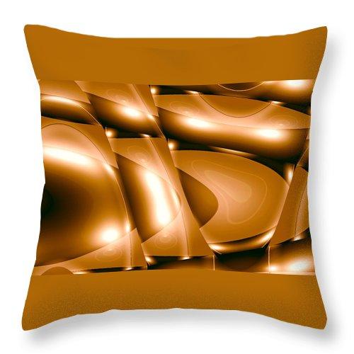 Moveonart! New York / San Francisco / Oklahoma / Portland / Missoual Jacob Kanduch Throw Pillow featuring the digital art Moveonart Inverted Minimal Wave And Light In Amber by Jacob Kanduch