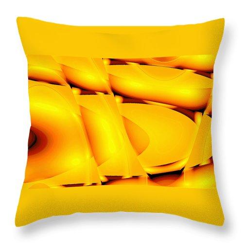 Moveonart! New York / San Francisco / Oklahoma / Portland / Missoula Jacob Kanduch Throw Pillow featuring the digital art Moveonart Inverted Waves Bubble And Light In Orange by Jacob Kanduch