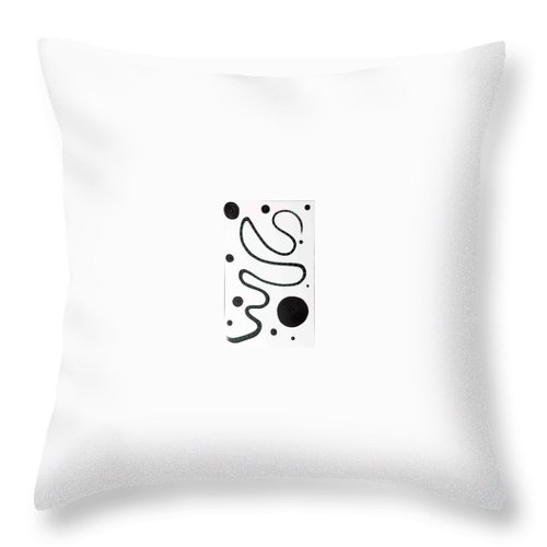 Moveonart! Digital Gallery Throw Pillow featuring the painting Moveonart Minimal Curves And Black Dots by Jacob Kanduch