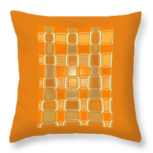 Moveonart! Digital Gallery Throw Pillow featuring the digital art Moveonart Orange Bricks by Jacob Kanduch