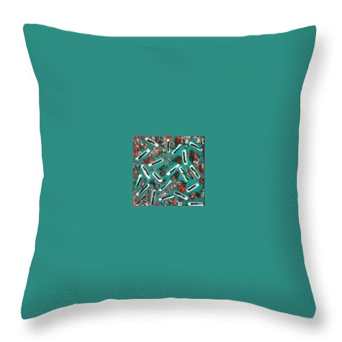 Moveonart! Digital Gallery Throw Pillow featuring the painting Moveonart Untitled 3 2005 by Jacob Kanduch