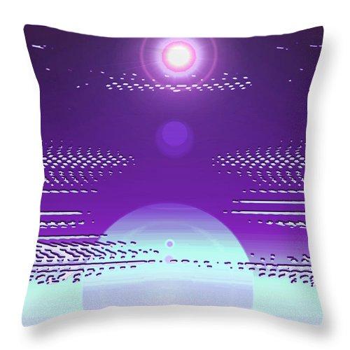 Moveonart! Digital Gallery Throw Pillow featuring the digital art Moveonart Violet Light Of Charitable Consciousness by Jacob Kanduch