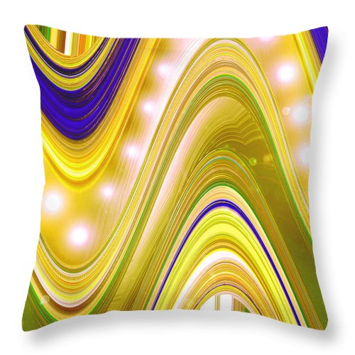 Moveonart! Digital Gallery Throw Pillow featuring the digital art Moveonart Wave Of Enlightenment Four by Jacob Kanduch