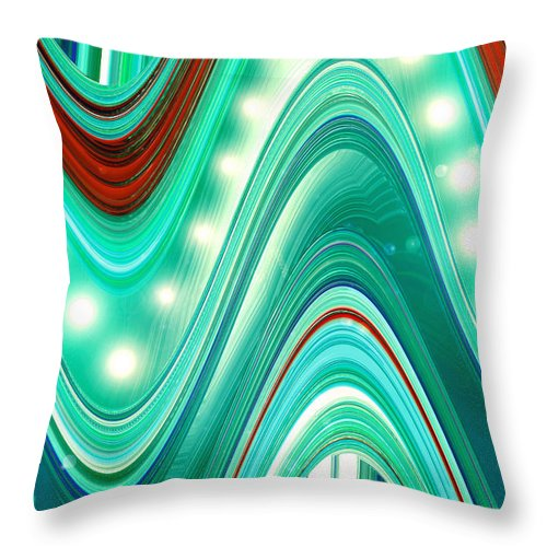 Moveonart! Digital Gallery Throw Pillow featuring the digital art Moveonart Wave Of Enlightenment One by Jacob Kanduch
