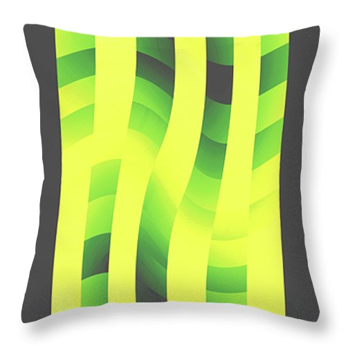 Moveonart! Global Gathering. -- Digital Abstract Art By Jacob Kane -- Omnetra Throw Pillow featuring the digital art Moveonart Yellowlimegreenwave by Jacob Kanduch
