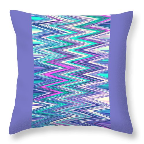 Moveonart! Digital Gallery Throw Pillow featuring the digital art Moveonart Zig Zag Therapy One by Jacob Kanduch
