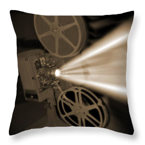 Vintage Throw Pillow featuring the photograph Movie Projector by Mike McGlothlen