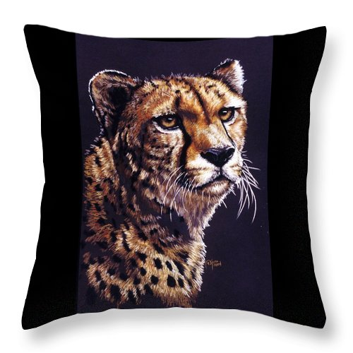 Cheetah Throw Pillow featuring the drawing Movin On by Barbara Keith