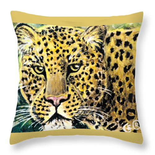 Leopards Throw Pillow featuring the pastel Moving Beauty by George I Perez