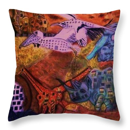 Safari Throw Pillow featuring the pastel Moving Life by Leslye Miller
