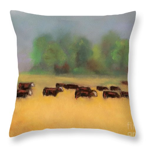 Cattle Throw Pillow featuring the painting Moving On by Frances Marino