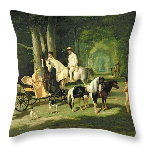 And Throw Pillow featuring the painting Mr And Mrs A Mosselman And Their Two Daughters by Alfred Dedreux