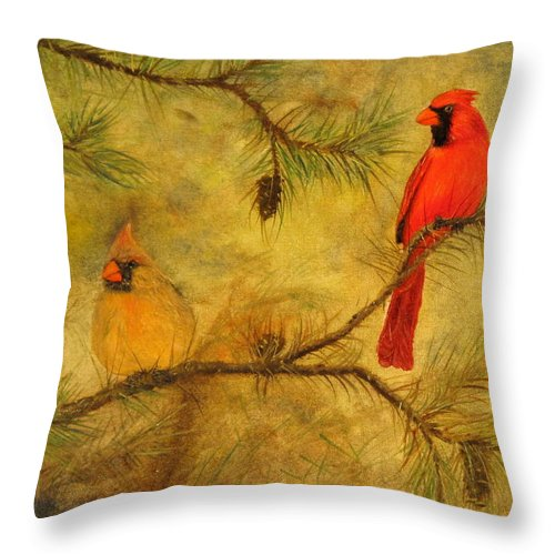 Cardinals Throw Pillow featuring the painting Mr And Mrs by Catfish Lawrence