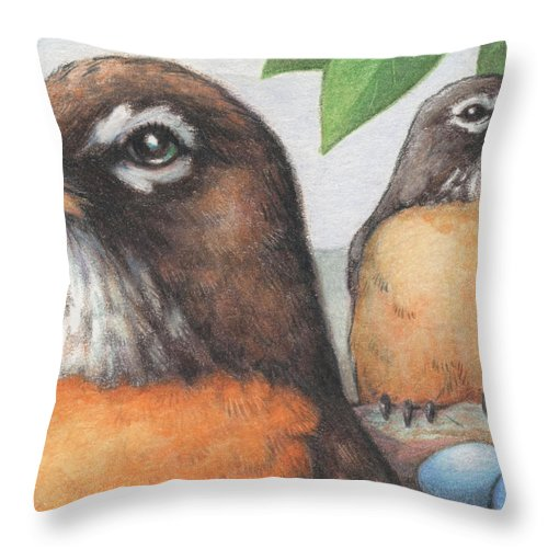 Birds Throw Pillow featuring the drawing Mr And Mrs Robin Are Expecting by Amy S Turner