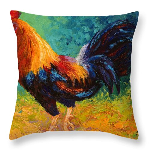 Rooster Throw Pillow featuring the painting Mr Big by Marion Rose