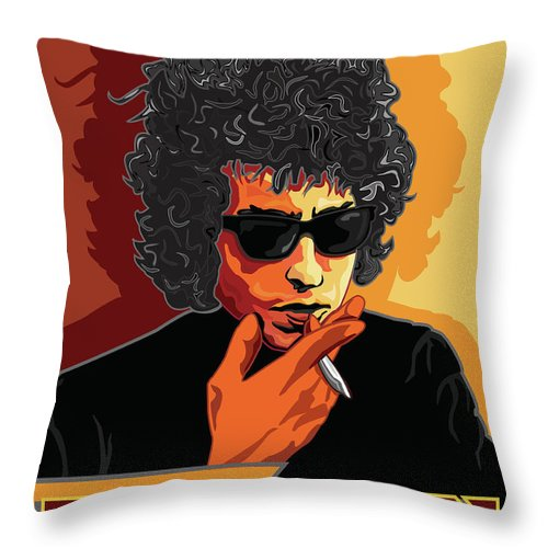 Bob Dylan Throw Pillow featuring the digital art Bob Dylan American Music Legend by Larry Butterworth