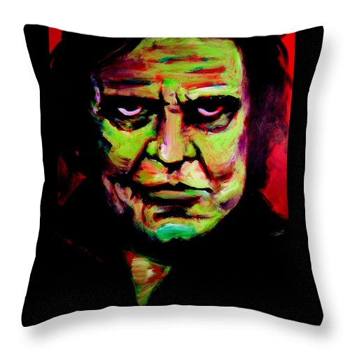 Portrait Throw Pillow featuring the painting Mr. Cash by Jason Reinhardt