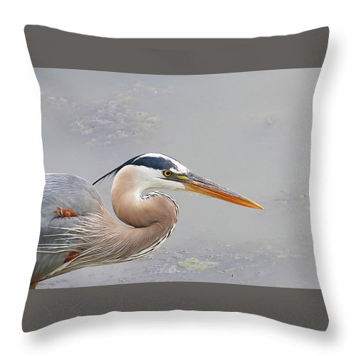 Throw Pillow featuring the photograph Mr. Heron by Tony Umana