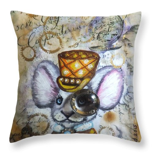 Steampunk Mouse Original Painting Plaid Yellow Top Hat Watch Clock Cogs Gears Hand Writing Letters Page Antique Victorian Era Inventor Invention Woman Vintage Abstract Art Olie Cannoli Griffard Anna Coffee Stain Throw Pillow featuring the painting Mr. Mouse by Anna Griffard