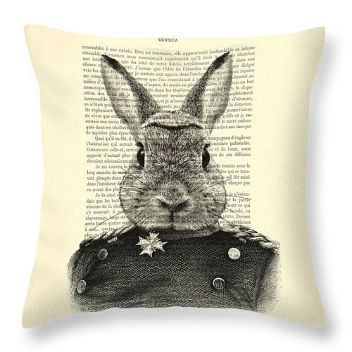 Rabbit Print Throw Pillow featuring the digital art Rabbit Portrait In A Suit by Madame Memento