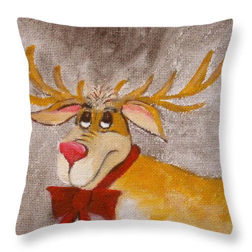 Animals Throw Pillow featuring the painting Mr Reindeer by Ruth Palmer